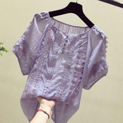 雪纺短袖女夏2018新款超仙女上衣韩版娃娃衫洋气遮肚子显瘦雪纺衫