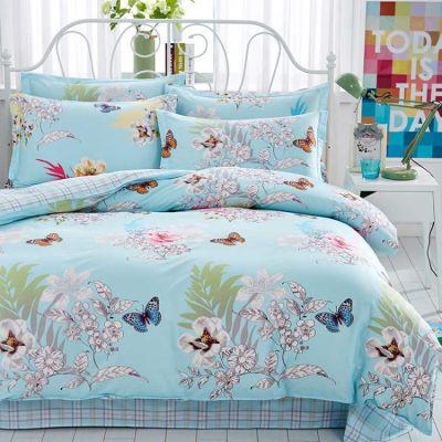 宾馆件套床单被套夏季床上水洗棉绣花套少女心床单猫套老粗布单件