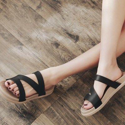 2018夏季外穿凉拖鞋女时尚平底一字拖休闲可下水防滑沙滩鞋