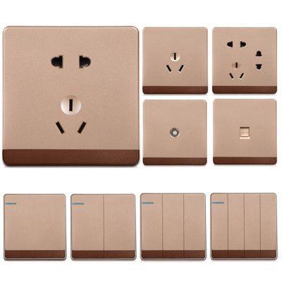 墙壁大板金色五孔七孔空调电脑电视暗装插座一二三四位单双控开关