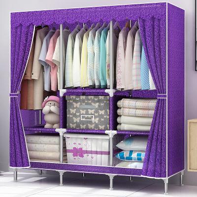 p5简易衣柜?#23478;?#24067;衣柜钢架单人衣橱组装双人收纳柜子简约现代经济