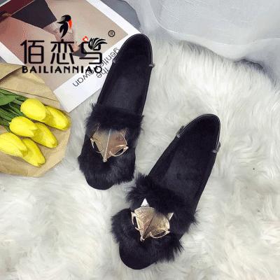 【佰恋鸟】毛毛鞋加绒保暖鞋百搭休闲豆豆鞋平底2017韩版棉瓢鞋女