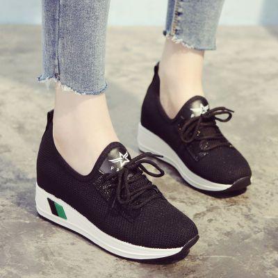 新款韩版ins超火针织休闲鞋旅游鞋透气网面厚底内增高运动鞋女鞋