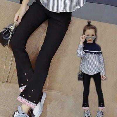 【秋季新品】女童裤子3-15岁新款儿童春秋长裤弹力修身黑色喇叭裤