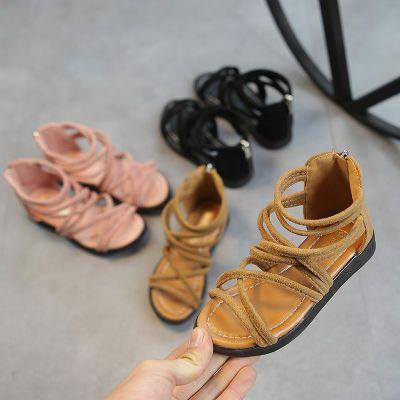绑带凉鞋女学生平底民族风拉链凉鞋生凉鞋小生儿童鞋夏天男童板鞋