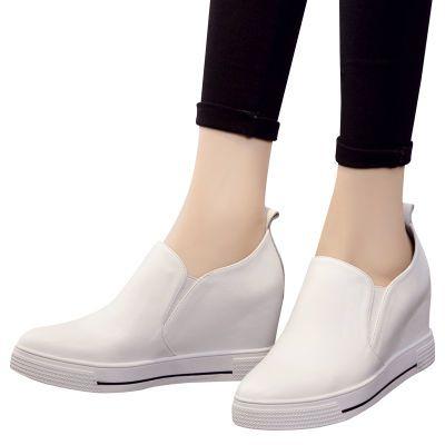 头层牛皮乐福鞋内增高真皮女鞋小白鞋女学生尖头休闲鞋镂空女单鞋