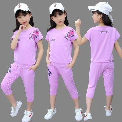 【包邮】童装女童夏装2018新款套装中大童短袖儿童洋气时髦女孩衣服两件套