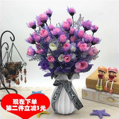 仿真花束客厅蓝色妖姬玫瑰绢花室内装饰假花紫色布艺花卉装饰摆件