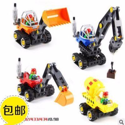 万格大颗粒兼容乐高积木STEAM教具3-6周岁儿童益智玩具工程车队