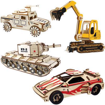 激光木质3d立体拼图木头拼装工程车汽车坦克模型手工儿童木制玩具