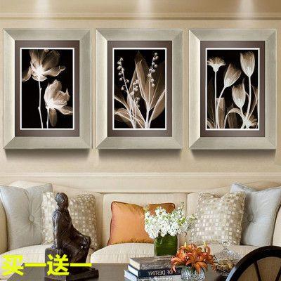简约现代客厅装饰画沙发背景墙三联画餐厅卧室挂画简欧式有框壁画