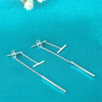 日韩国几何耳钉s925纯银后挂长款气质流苏耳环简约一字棒耳线女