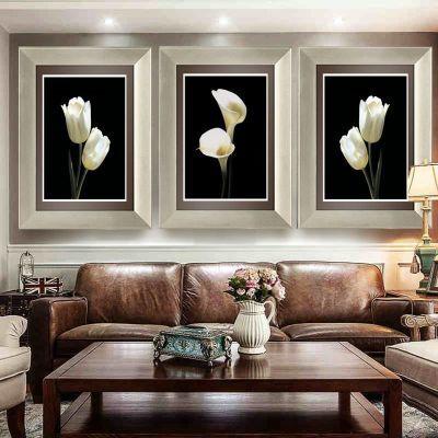 有框挂画客厅装饰画现代沙发背景墙欧式三联画简约卧室餐厅墙壁画