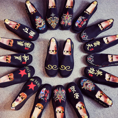 刺绣老北京布鞋男新款男生韩版潮流帆布豆豆社会鞋子男士西山网红