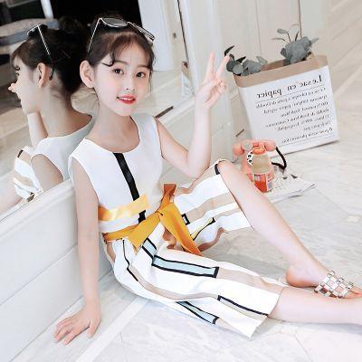 童装女童夏装夏季时尚休闲洋气无袖背心韩版雪纺阔腿裤套装两件套