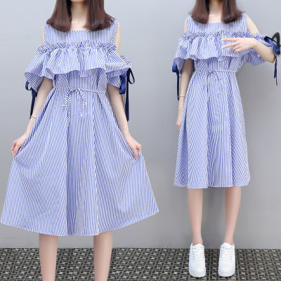 防晒衣女学生韩版中长款肥胖女装恤女短袖宽松雪纺裙加肥加夏半截
