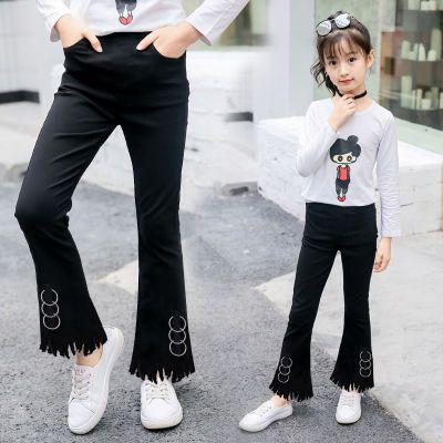 【新品】女童裤子2018春秋新款3-15岁儿童黑色喇叭裤弹力修身长裤