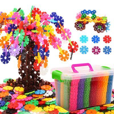 儿童益智雪花片玩具带数字大中号雪花片男女孩拼插积木多规格可选