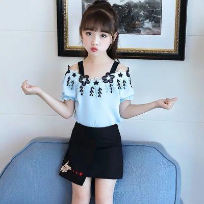 女童夏装套装2018新款时尚中大童儿童韩版雪纺短袖露肩短裙两件套