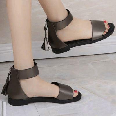 凉鞋女学生韩版原宿风平底老凉鞋高跟黑色细跟夏季新款中空儿童网