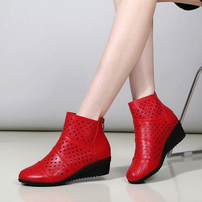 短靴女夏季坡跟镂空凉靴舒适软底透气网靴真皮广场舞妈妈跳舞鞋