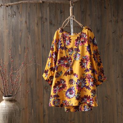 新款半袖春夏季中年大码女装上衣T恤中袖圆领纯棉宽松娃娃衫碎花