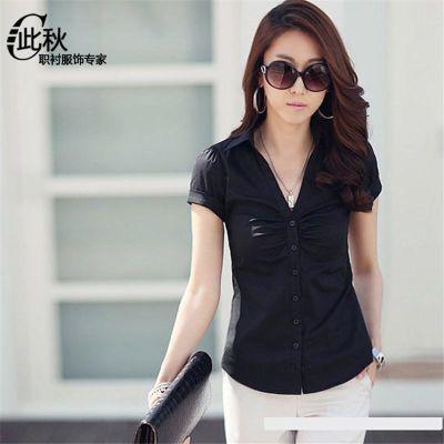 韩版V领 白衬衫女 短袖修身工作服正装白色职业衬衫女衬衣 夏 棉