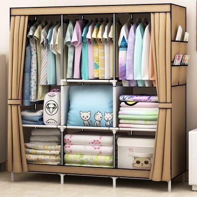 乐活布衣柜加粗钢管大容量防尘衣柜子衣柜收纳衣橱衣架双人衣柜