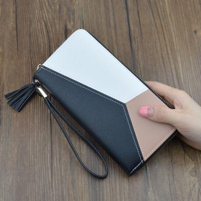 女士钱包长款拉链多功能手拿包时尚撞色拼接大容量钱包女学生韩版
