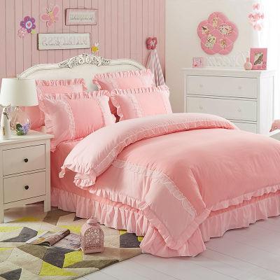 单人床床笠四件套水洗棉床单1.5米被套初中生宿舍用品三件套少女