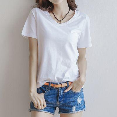 纯色短袖t恤女纯棉半袖2018新款体恤紧身打底衫修身显瘦纯白色夏T