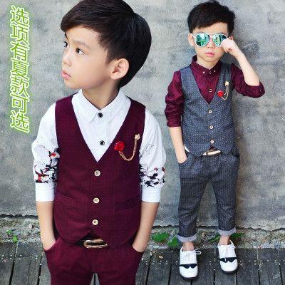 儿童马甲套春秋款男童套装儿童礼服套装主持花童西服英伦