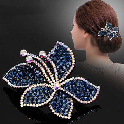 发夹发饰发卡布艺花朵女士高档顶夹弹簧夹满钻马尾夹气质饰品首饰