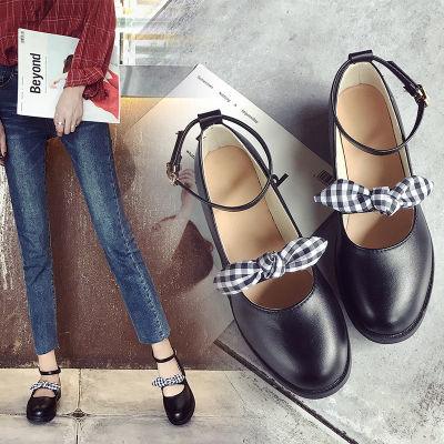 中跟浅口单鞋女春2018新款百搭韩版学生小皮鞋粗跟仙女鞋夏奶奶鞋