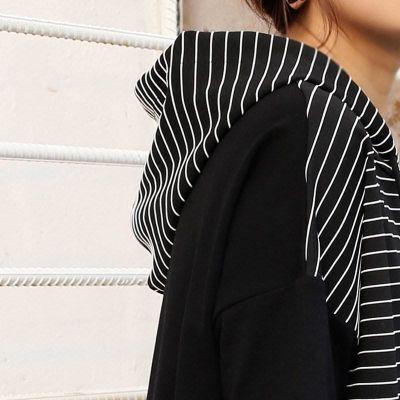 201韩版女装夏装新款宽松百搭条纹拼接中长款连帽短袖t恤连衣裙松