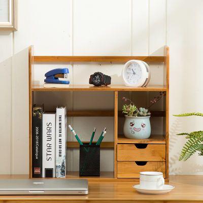 带抽屉简易桌上置物架学生创意小型书架办公桌实木收纳桌面小书架