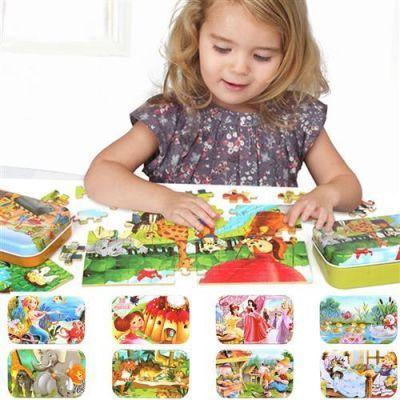 儿童木质拼图60片铁盒装益智早教拼图拼版拼插玩具幼儿园礼物