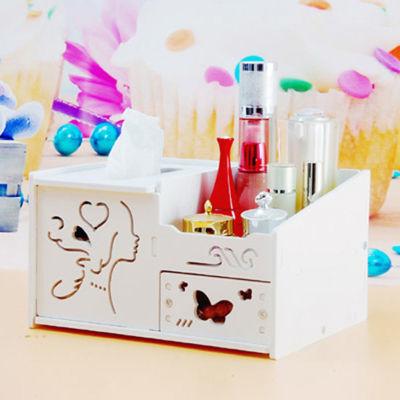 家用多功能收纳盒桌面餐巾纸巾盒抽纸盒可爱创意置物架带小抽屉