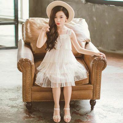 女童吊带裙201新款4韩版3-5岁8小童9白色纱裙6公主7儿童连衣裙10