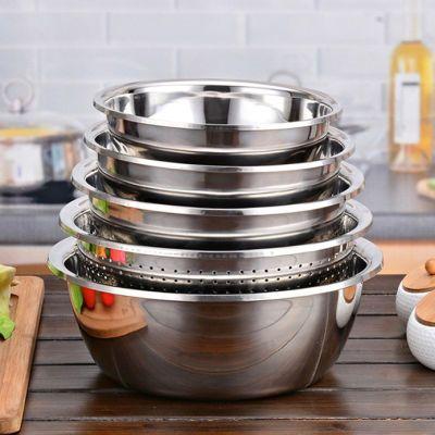不锈钢肠粉蒸盘洗菜盆滤网麻辣小龙虾调料汤碗带盖泡面碗不塑料盆