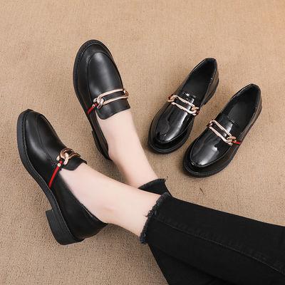 春夏季女鞋2020新款英伦风复古小皮鞋女学生韩版中跟百搭粗跟单鞋