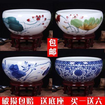景德镇陶瓷金鱼缸乌龟缸复古典睡莲碗莲花盆大号瓷盆水仙水培瓷缸