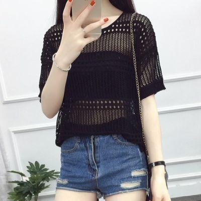 毛衣上衣女薄超式薄短袖系带韩版七分袖短款空桑空针织衫套头罩衫