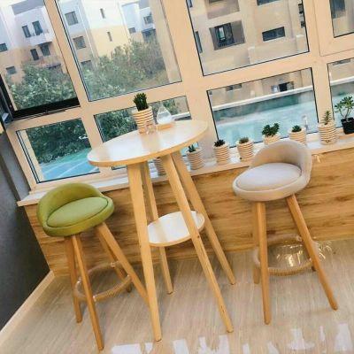 简约现代小吧台桌家用实木高脚圆桌子客厅咖啡厅北欧吧台桌椅组合