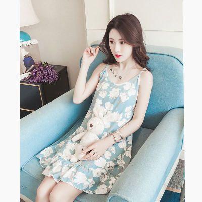 15%棉 睡衣女夏季吊带睡裙棉质韩版学生宽松大码可爱性感家居服