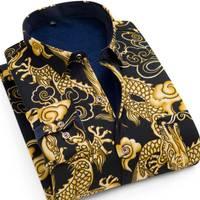 【加绒衬衫】冬装时尚休闲加绒加厚印花保暖长袖衬衫男装保暖衬衣