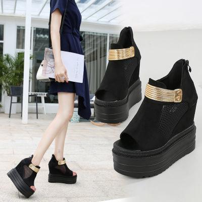 韩版秋季新款女鞋性感网料超高坡跟鱼嘴单鞋厚底隐形内增高跟短靴
