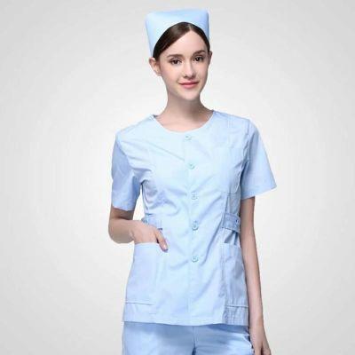 短袖夏装无领护士服修脚催乳家政护理工作服透气吸汗薄款医护制服