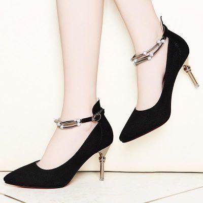 专柜热卖品牌莱卡金顿红色结婚鞋女欧美新款高跟鞋水钻细跟浅口单