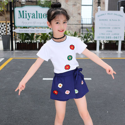 上衣+裤裙 女童套装夏装新款洋气中大童女孩短袖女童裙儿童两件套